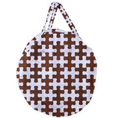 Puzzle1 White Marble & Reddish Brown Wood Giant Round Zipper Tote by trendistuff