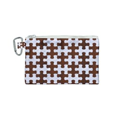 Puzzle1 White Marble & Reddish Brown Wood Canvas Cosmetic Bag (small) by trendistuff