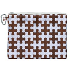 Puzzle1 White Marble & Reddish Brown Wood Canvas Cosmetic Bag (xxl) by trendistuff