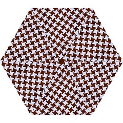 Houndstooth2 White Marble & Reddish Brown Wood Mini Folding Umbrellas by trendistuff