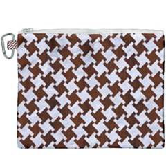 Houndstooth2 White Marble & Reddish Brown Wood Canvas Cosmetic Bag (xxxl) by trendistuff