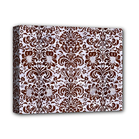 Damask2 White Marble & Reddish Brown Wood (r) Deluxe Canvas 14  X 11  by trendistuff