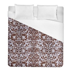 Damask2 White Marble & Reddish Brown Wood (r) Duvet Cover (full/ Double Size) by trendistuff