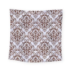 Damask1 White Marble & Reddish Brown Wood (r) Square Tapestry (small) by trendistuff