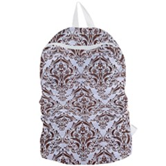 Damask1 White Marble & Reddish Brown Wood (r) Foldable Lightweight Backpack