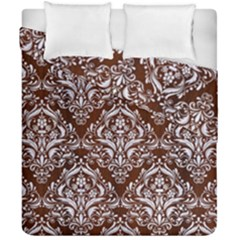 Damask1 White Marble & Reddish Brown Wood Duvet Cover Double Side (california King Size) by trendistuff