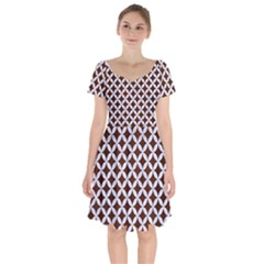 Circles3 White Marble & Reddish Brown Wood Short Sleeve Bardot Dress