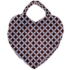 Circles3 White Marble & Reddish Brown Wood Giant Heart Shaped Tote