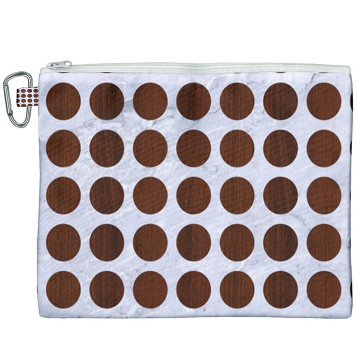 CIRCLES1 WHITE MARBLE & REDDISH-BROWN WOOD (R) Canvas Cosmetic Bag (XXXL)