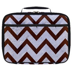 Chevron9 White Marble & Reddish Brown Wood (r) Full Print Lunch Bag by trendistuff