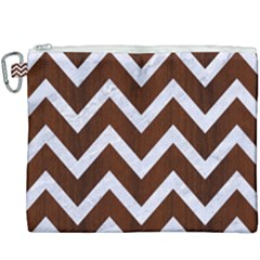 Chevron9 White Marble & Reddish Brown Wood Canvas Cosmetic Bag (xxxl) by trendistuff