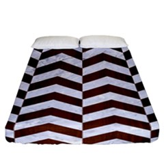Chevron2 White Marble & Reddish Brown Wood Fitted Sheet (california King Size) by trendistuff