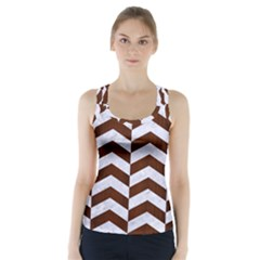 Chevron2 White Marble & Reddish Brown Wood Racer Back Sports Top by trendistuff
