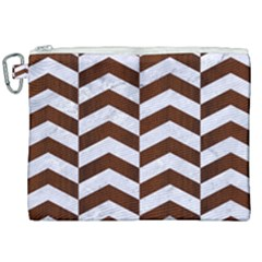 Chevron2 White Marble & Reddish Brown Wood Canvas Cosmetic Bag (xxl) by trendistuff