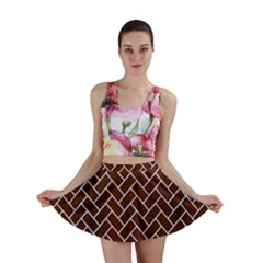 Brick2 White Marble & Reddish Brown Wood Mini Skirt
