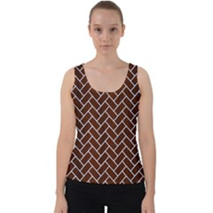 Brick2 White Marble & Reddish Brown Wood Velvet Tank Top