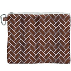 Brick2 White Marble & Reddish Brown Wood Canvas Cosmetic Bag (xxxl)