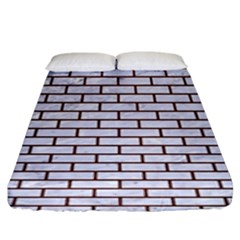 Brick1 White Marble & Reddish Brown Wood (r) Fitted Sheet (king Size) by trendistuff