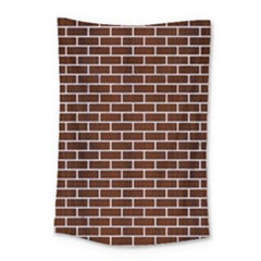 Brick1 White Marble & Reddish Brown Wood Small Tapestry