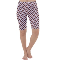 Woven2 White Marble & Reddish Brown Leather (r) Cropped Leggings