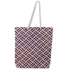 Woven2 White Marble & Reddish Brown Leather (r) Full Print Rope Handle Tote (large) by trendistuff