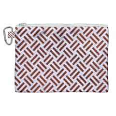 Woven2 White Marble & Reddish Brown Leather (r) Canvas Cosmetic Bag (xl)