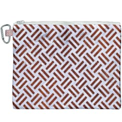Woven2 White Marble & Reddish Brown Leather (r) Canvas Cosmetic Bag (xxxl) by trendistuff