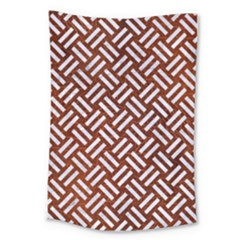 Woven2 White Marble & Reddish Brown Leather Large Tapestry by trendistuff