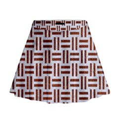 Woven1 White Marble & Reddish Brown Leather (r) Mini Flare Skirt