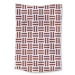 Woven1 White Marble & Reddish Brown Leather (r) Large Tapestry by trendistuff