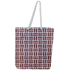 Woven1 White Marble & Reddish Brown Leather (r) Full Print Rope Handle Tote (large)