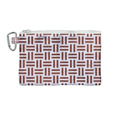 Woven1 White Marble & Reddish Brown Leather (r) Canvas Cosmetic Bag (medium) by trendistuff