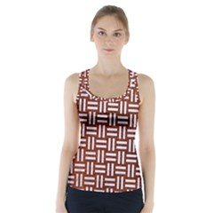 Woven1 White Marble & Reddish Brown Leather Racer Back Sports Top by trendistuff