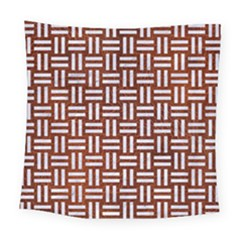 Woven1 White Marble & Reddish Brown Leather Square Tapestry (large) by trendistuff