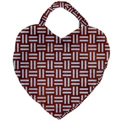 Woven1 White Marble & Reddish Brown Leather Giant Heart Shaped Tote