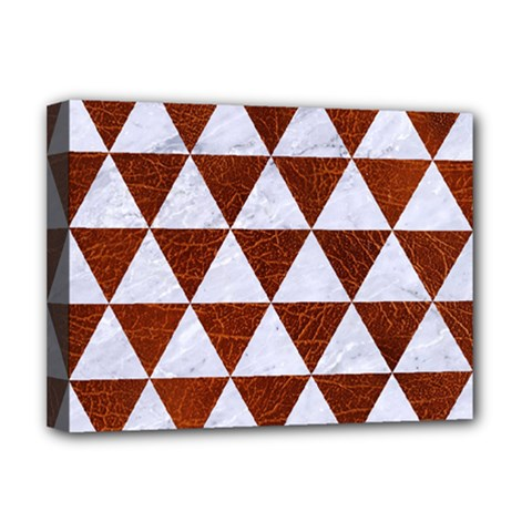 Triangle3 White Marble & Reddish Brown Leather Deluxe Canvas 16  X 12