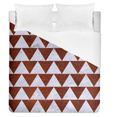 Triangle2 White Marble & Reddish Brown Leather Duvet Cover (queen Size) by trendistuff