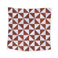 Triangle1 White Marble & Reddish Brown Leather Square Tapestry (small) by trendistuff