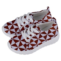 Triangle1 White Marble & Reddish Brown Leather Kids  Lightweight Sports Shoes by trendistuff
