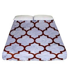 Tile1 White Marble & Reddish Brown Leather (r) Fitted Sheet (queen Size) by trendistuff