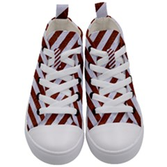 Stripes3 White Marble & Reddish Brown Leather (r) Kid s Mid Top Canvas Sneakers