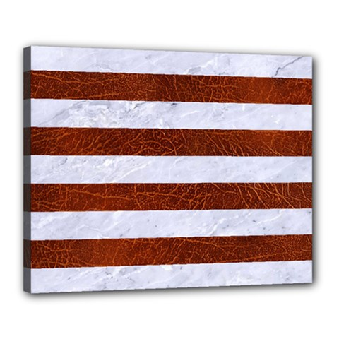 Stripes2white Marble & Reddish Brown Leather Canvas 20  X 16  by trendistuff
