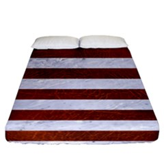 Stripes2white Marble & Reddish Brown Leather Fitted Sheet (california King Size) by trendistuff