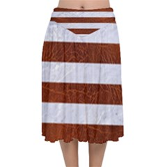 Stripes2white Marble & Reddish Brown Leather Velvet Flared Midi Skirt