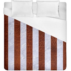 Stripes1 White Marble & Reddish Brown Leather Duvet Cover (king Size) by trendistuff
