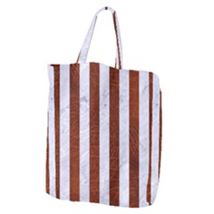 Stripes1 White Marble & Reddish Brown Leather Giant Grocery Zipper Tote by trendistuff