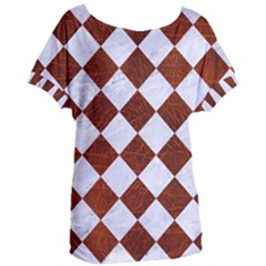 Square2 White Marble & Reddish Brown Leather Women s Oversized Tee by trendistuff