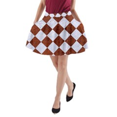 Square2 White Marble & Reddish Brown Leather A Line Pocket Skirt by trendistuff