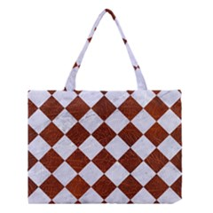 Square2 White Marble & Reddish Brown Leather Medium Tote Bag by trendistuff