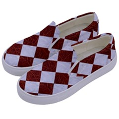 Square2 White Marble & Reddish Brown Leather Kids  Canvas Slip Ons by trendistuff